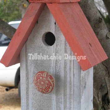 Reclaimed Barnwood Birdhouse,Nautical Birdhouse,Beach Birdhouse,Distressed Rustic Birdhouse, Primitive Birdhouse,