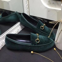 GUCCI Old Skool Women Fashion Velvet Flats Shoes-5