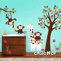 Children Wall Decal Wall Sticker - Monkeys and Giraffe Baby Room Decor - Nursery Wall Stickers for Children - PLMC010L