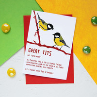 Funny Valentine's Love Card GREAT TITS Naughty Valentines Day Rude Pun Card Bird Watching Twitcher Birds Nature Lover Geek Valentines Gift