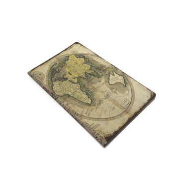 Old World Map Journal, Geography Notebook, Earth Tones, Travel Journal, Antique Map Diary, Adventure, Vintage Travel Log, Teacher's Gift