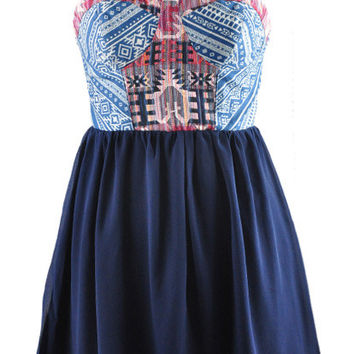 Blue Bohemian Spaghetti Strap Chiffon Dress