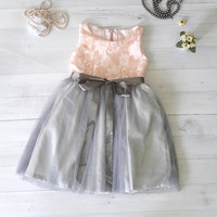coral and grey flower girl's dress, satin and lace girl's dress, party dress, wedding attend dress