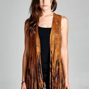 Suede Boho Cardigan with Hem Fringes
