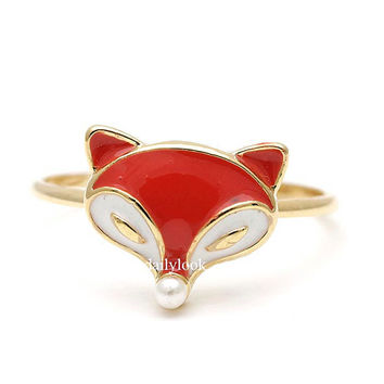 fox ring, peal ring, fox jewelry, animal ring, fox, unique ring, woman ring, cute ring, animal jewelry, orange, pearl
