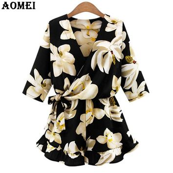 Women Summer Jumpsuit Print Floral High Waist Loose Fit Overalls Sexy Beachwear Rompers V Neck Ruffles Sleeve Playsuits Clothes