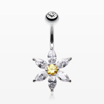 Glistening Flower Bliss Non Dangle Belly Button Ring