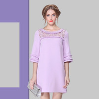 Casual Lace Embroidered Chest Ruffle Sleeve Mini Dress