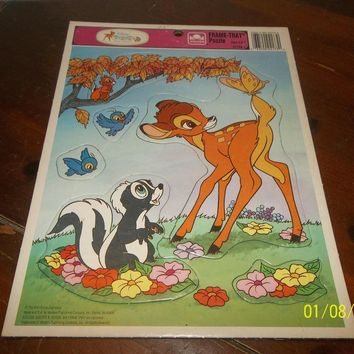 vintage walt disney bambi and friends frame tray puzzle