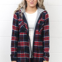 Lumberjack Plaid Flannel Hoodie Jacket {Navy Mix}