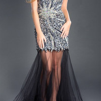 Black Label Couture 25 One Shoulder Jeweled Sheer Bottom Prom Dress