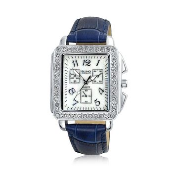 Crystal Square Face Wrist Watch Faux Navy Blue Crocodile Leather Band