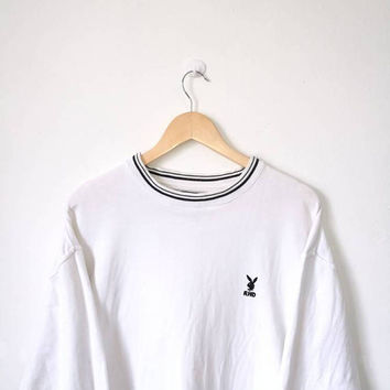 On Sale!! Vintage 90s Playboy Small Logo Pullover Jumper Sweatshirt Streetwear Celebrity Fashion White Colour