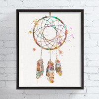 Dreamcatcher Art Print, Watercolor Dreamcatcher, Dream Catcher Painting, Boho Home Decor, Gypsy, Tribal, Dream Catcher Art, Framed Art