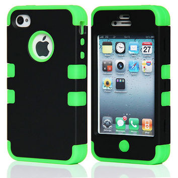 Rugged Armor Heavy Duty Hybrid Phone Case Stand Cover For Apple iphone 4 4S 4G 4GS