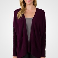 Plum Cashmere Dolman Cardigan Tunic Sweater