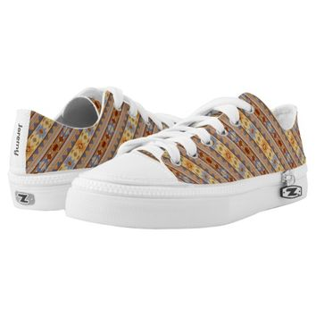 Southwest Design Rust Gray Gold Printed Shoes