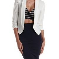 Ivory Three-Quarter Sleeve Open Front Blazer by Charlotte Russe