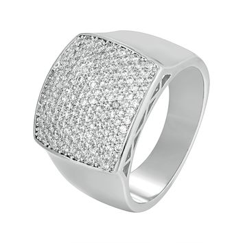 3D Solitaire Hip Hop Men's Iced Out Wedding Ring