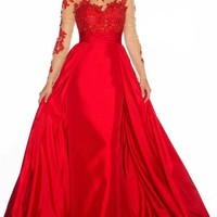 Red Lace Prom Wedding Dresses Long Sleeves Evening Gowns Party Backless 2015