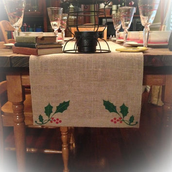 "Burlap Table Runner 12"", 14"" & 15"" wide with FINISHED edges and Holly leaves on both ends"