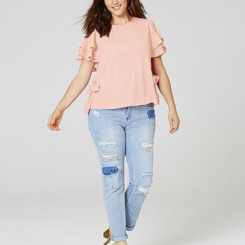 Tie Side Blouse with Frill Sleeve | SimplyBe US Site