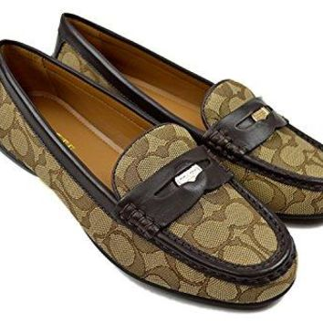 Coach New york Womens Q8785 Pebbled Leather Penny Loafers Khaki/Chestnut 7.5M