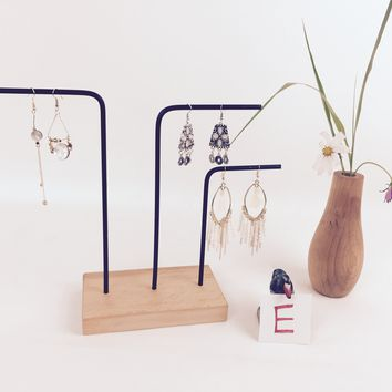 Solid Wood Metal Earrings Display Rack