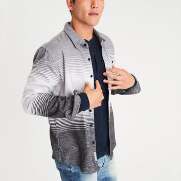 AEO Colorblock Flannel Shirt, Gray
