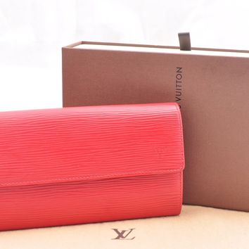 Authentic Louis Vuitton Epi Portefeuille Sarah Long Wallet Red LV Box 46999