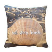 """Eat, Sleep, Beach"" California Sand Seashell Photo Throw Pillow"