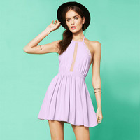 Halter Cutout Lace Trimmed Waist Swing Mini Dress