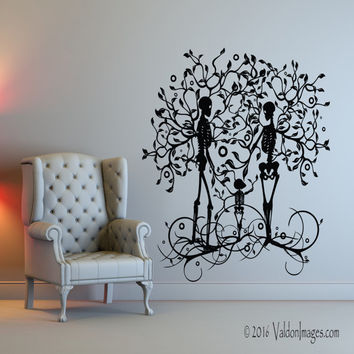 Skeleton family wall decal, tree wall decal, living room wall decal, tree of