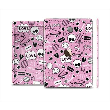 The Pink & Black Love Skulls Pattern V3 Skin Set for the Apple iPad Air 2