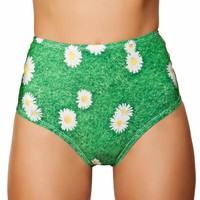 Daisy Grass High-Waisted Scrunch Booty Shorts