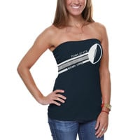Penn State Nittany Lions Ladies Glitter Football Tube Top - Navy Blue