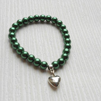 Gift for every day, for birthday, Party, Valentine, Accessories for wedding, Dark green glass pearl bracelet, Heart shape pendent, romantic
