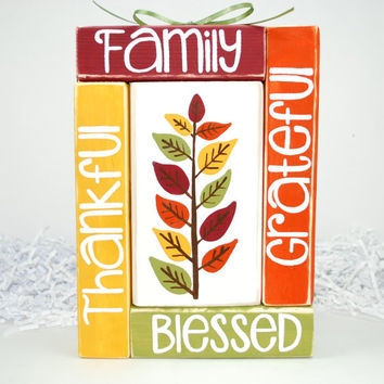 Thanksgiving Family Thankful Grateful Blessed Fall Colors WoodenBlock Shelf Sitter Stack