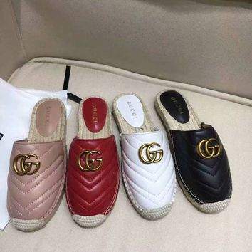 Gucci 2019 Women Loafers Ladies Casual Slippers Genuine Leather Sandals Slippers