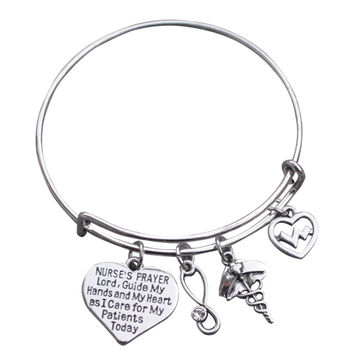 Nurse Prayer Bangle Bracelet