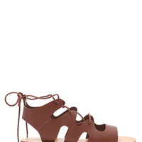 Lace-Up Faux Leather Sandals