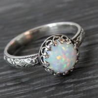 Opal ring sterling silver floral pattern band with a crown gallery setting, 8 mm white simulated opal, October birthstone, handmade ring