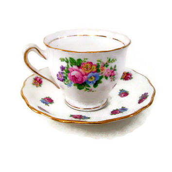 Vintage Colclough China -  Floral Tea Cup and Saucer with Roses - 1940's - Bone China - England