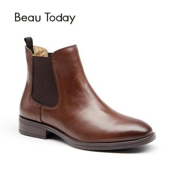 BeauToday Chelsea Boots Women Top Brand Genuine Calf Leather Square Toe Elastic Ankle Short Boot Fashion Shoes Handmade 03025