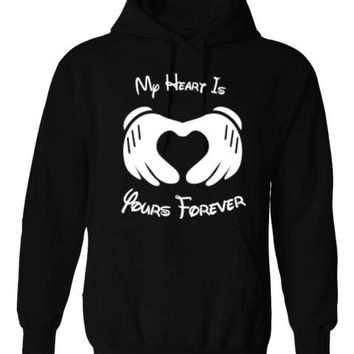 MY HEART IS YOURS FOREVER MICKEY MOUSE HOODIE PULLOVER JUMPER - BLACK