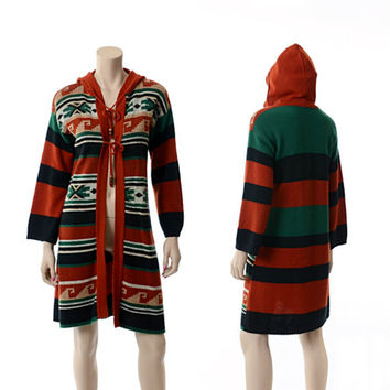Vintage 70s Southwestern Tribal Hooded Long Sweater Jacket 1970s Knit Cardigan Indian Hoodie Hippie Boho Jacket / Medium