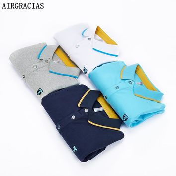 AIRGRACIAS Brand Clothing New Men Polo Shirt Men Business & Casual Solid Male Polo Shirt Short Sleeve Breathable Polo Shirts