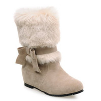 Apricot Bowknot and Fur Design Ankle Boots
