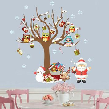 2PCS Removable Merry Christmas Living Room Wall Stickers
