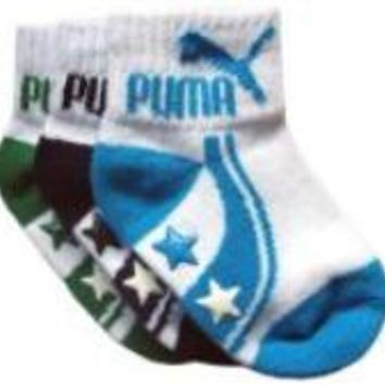 Puma Baby Boy Star Gripper Socks- 3 Pack(Infant to Baby)